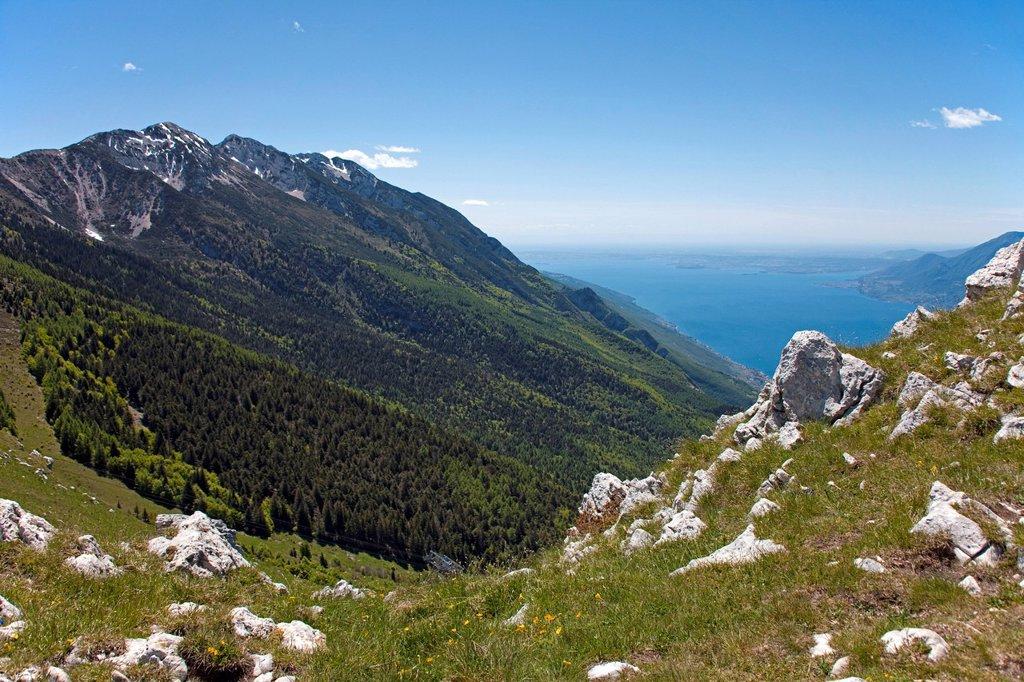 View from Mt. Monte Baldo on Lake Garda, Monte Baldo massif, Verona province, Veneto, Italy, Europe : Stock Photo