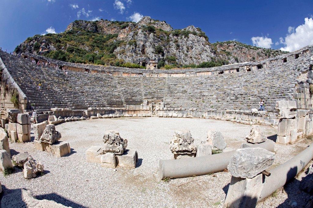 Roman amphitheatre near Myra, ancient capital of Lycia near Demre, Lycian Coast, Turquoise Coast, Anatolia, Turkey, Asia : Stock Photo