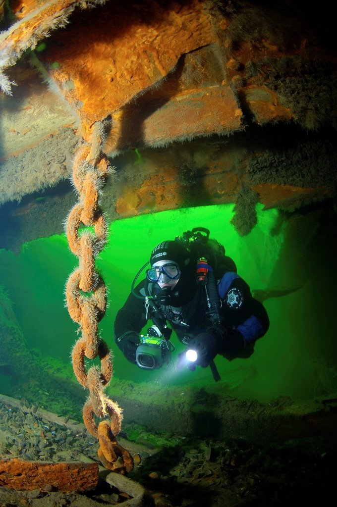 Stock Photo: 1848-688509 Diver at the shipwreck of the Russian transport vessel Bryansk, Odessa, Black Sea, Ukraine, Eastern Europe