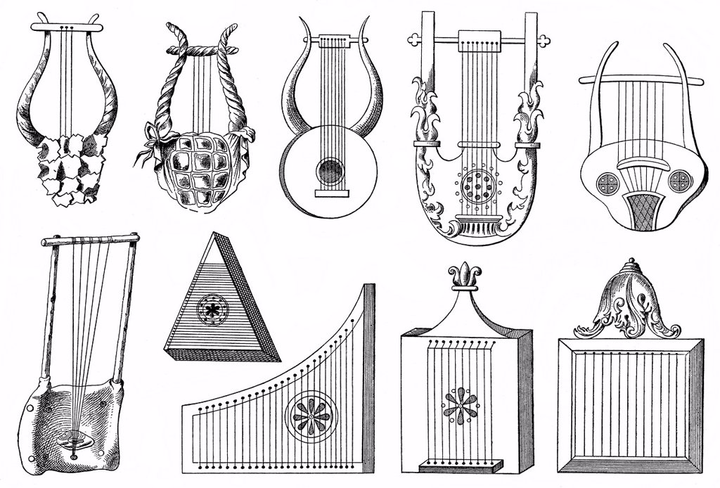 Stock Photo: 1848-688524 Historical drawing, various forms of the lyre, ancient string instruments from ancient Greece, the Roman Empire and Africa