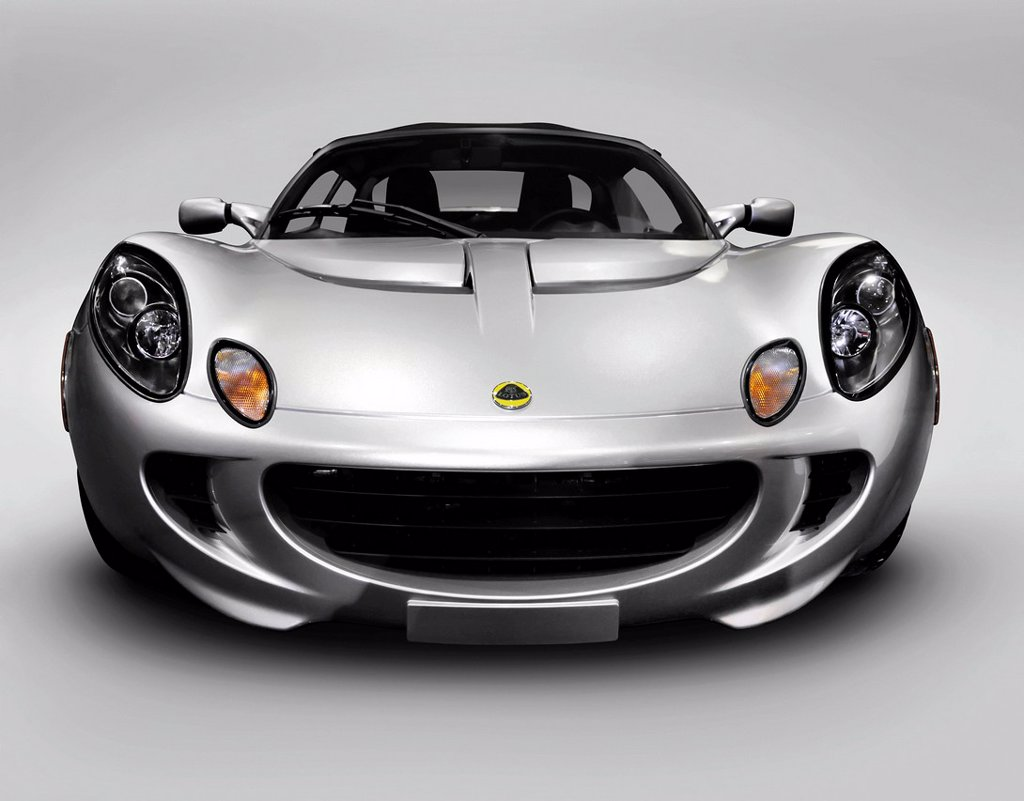 2008 Silver Lotus Elise sports car front view : Stock Photo