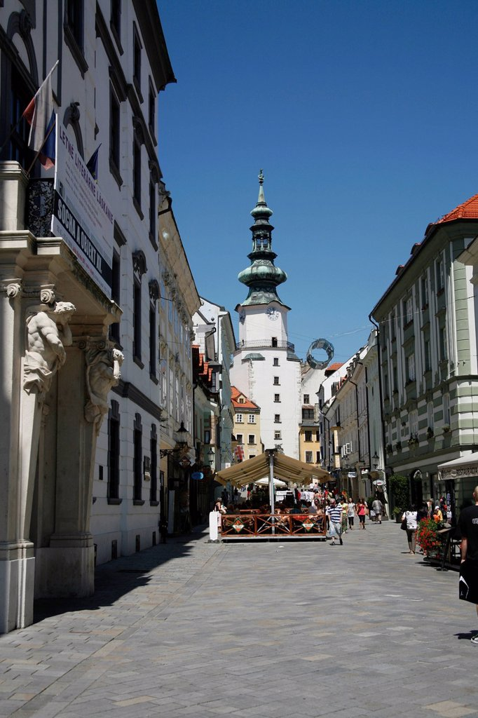 Stock Photo: 1848-688827 Old town and Michael´s Gate city gate in Bratislava, Slovakia, Europe