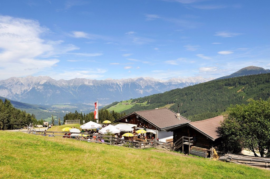 Stock Photo: 1848-688956 Miederer Ochsenhuette mountain lodge, 1582 m, Stubai Alps, Tyrol, Austria, Europe
