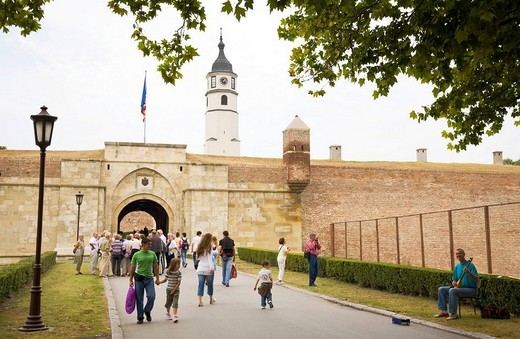 People in front of the Kalemegdan Fortress in Belgrade, Serbia : Stock Photo