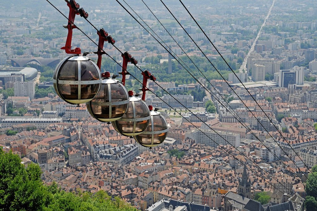 Stock Photo: 1848-689380 Cable car to Fort de la Bastille, Grenoble, Rhone_Alpes, France, Europe