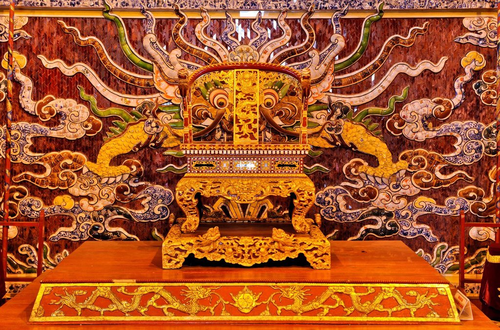 Stock Photo: 1848-689382 Throne on the stage of the theater, Hoang Thanh Imperial Palace, Forbidden City, Hue, UNESCO World Heritage Site, Vietnam, Asia