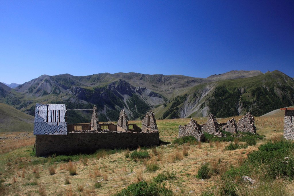 Camp of Fourches, ruins of military barracks on the road to the Col de la Bonette mountain pass, highest paved road in Europe, Alpes_Maritimes department, Western Alps, France, Europe : Stock Photo