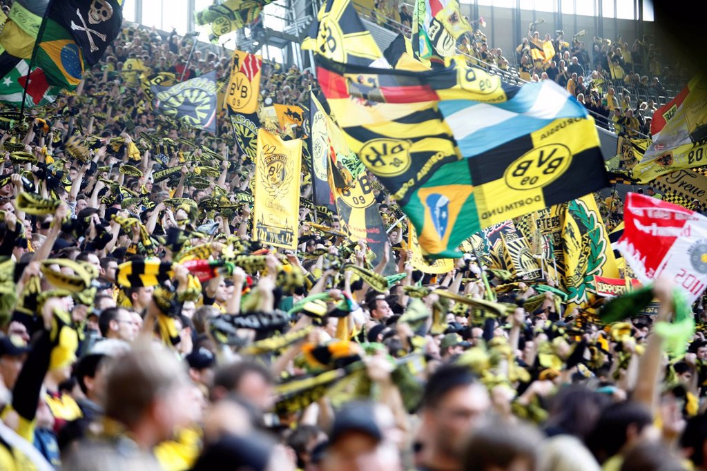 Stock Photo: 1848-689858 Fans of BVB Borussia Dortmund 09 football club on the south stand, Signal Iduna Park football arena, Dortmund, North Rhine_Westphalia, Germany, Europe