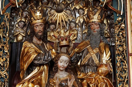 Stock Photo: 1848-69063 Late Gothic wing altar with Coronation of Mary in Maria Gail church near Villach, Carinthia, Austria, Europe