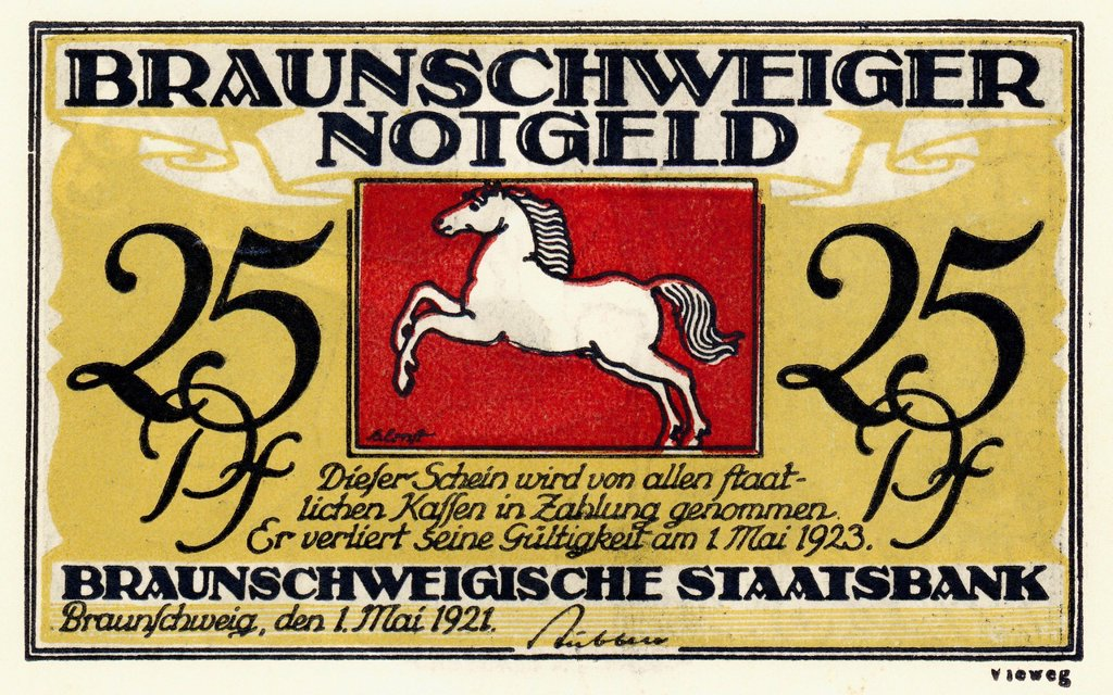 Stock Photo: 1848-690774 Emergency currency from Brunswick, banknote, Braunschweiger Staatsbank, 25 pfennig, Germany, Europe, 1921