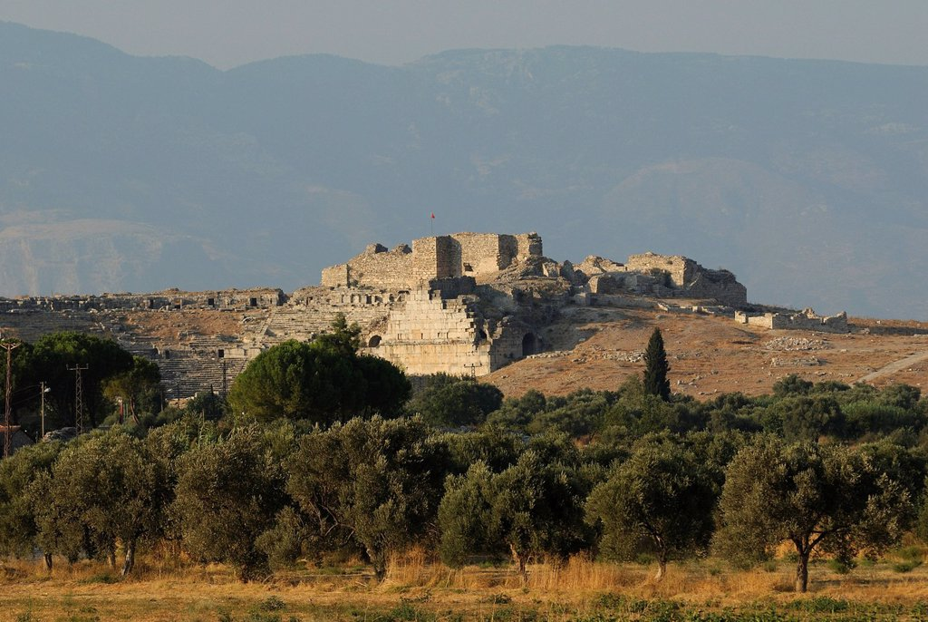 Ruins of Miletus in the evening sun, Greco_Roman amphitheater, near the village of Balat, Aydin Province, South Aegean coast, southwest Turkey, west coast, western Turkey, Turkey, Europe, Middle East, Asia : Stock Photo