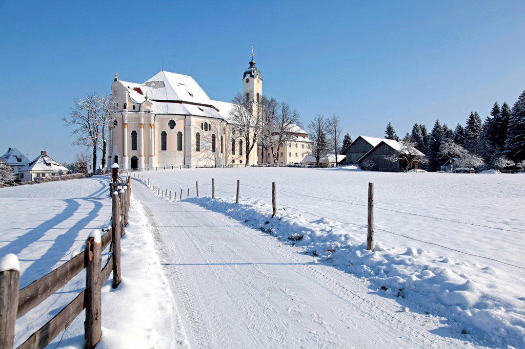 Stock Photo: 1848-691069 Wieskirche church, pilgrimage church of the Scourged Saviour, snow, Wies, Steingaden district, Bavaria, Germany, Europe