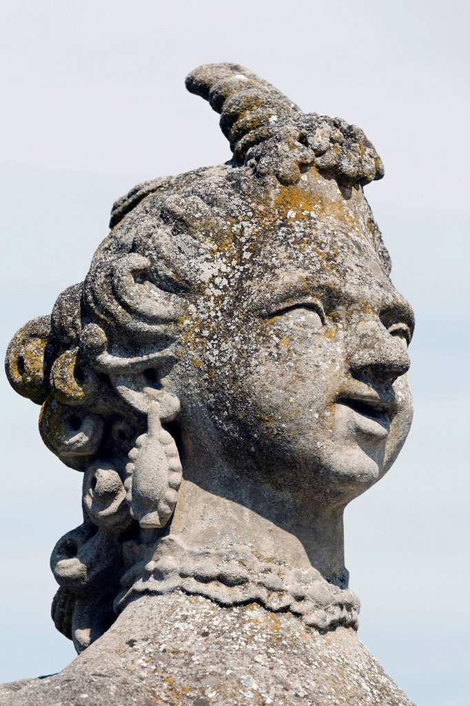 Stock Photo: 1848-691174 Head of a sphinx, Rococo Gardens, Schloss Veitshoechheim Castle, Lower Franconia, Bavaria, Germany, Europe