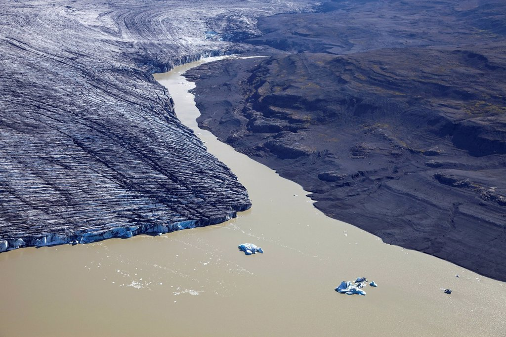 Aerial view, glacial lake with calved ice from the Vatnajoekull glacier, Iceland, Europe : Stock Photo