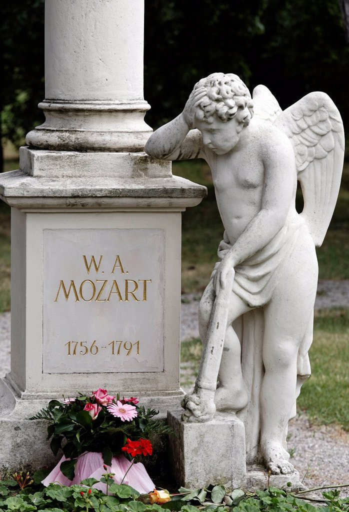 Stock Photo: 1848-691331 Tomb of Wolfgang Amadeus Mozart, St. Marxer Friedhof cemetery, Biedermeier_cemetery, Vienna, Austria, Europe