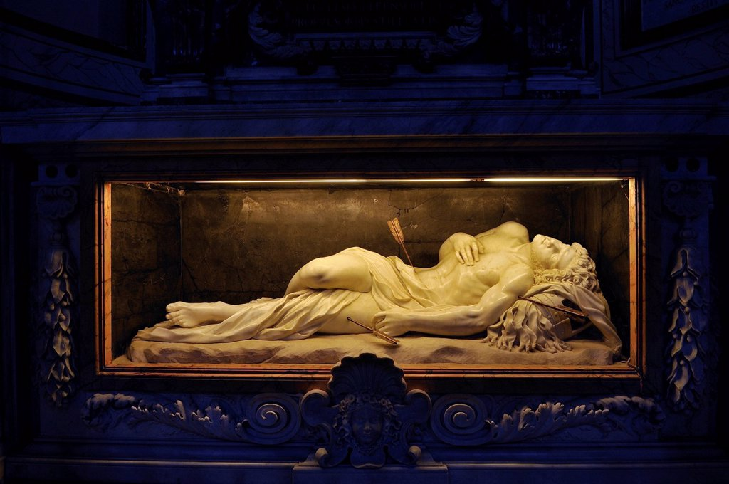 Stock Photo: 1848-691393 Tomb of St. Sebastian, church of San Sebastiano ad Catacumbas, St. Sebastian basilica, Basilica Sebastiano, Rome, Lazio region, Italy, Europe
