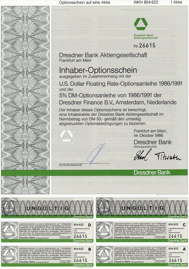 Bearer warrants for shares of Dresdner Bank AG and Dresdner Finance BV, Amsterdam, The Netherlands, 1986 : Stock Photo