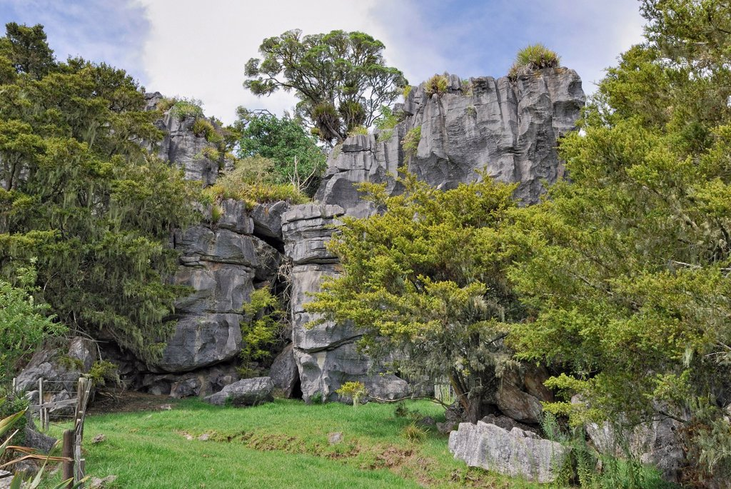 Limestone formations, Kawiti Glowworm Caves in Waiomio, North Island, New Zealand : Stock Photo