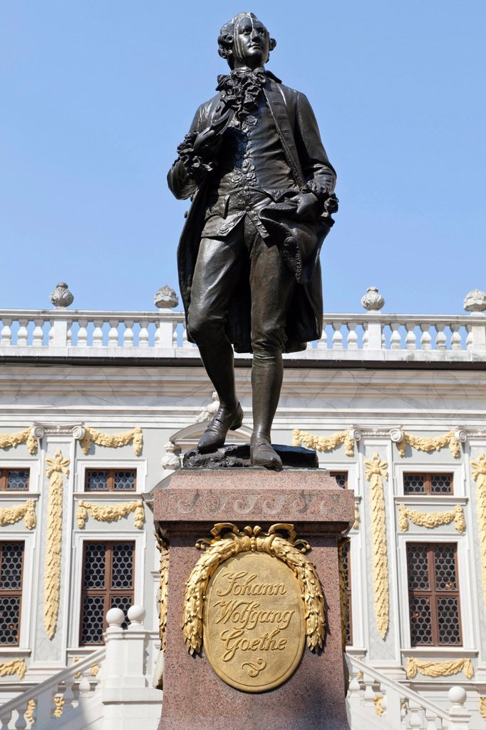 Stock Photo: 1848-691721 Johann Wolfgang Goethe statue in front of Old Stock Exchange building, Leipzig, Saxony, Germany, Europe