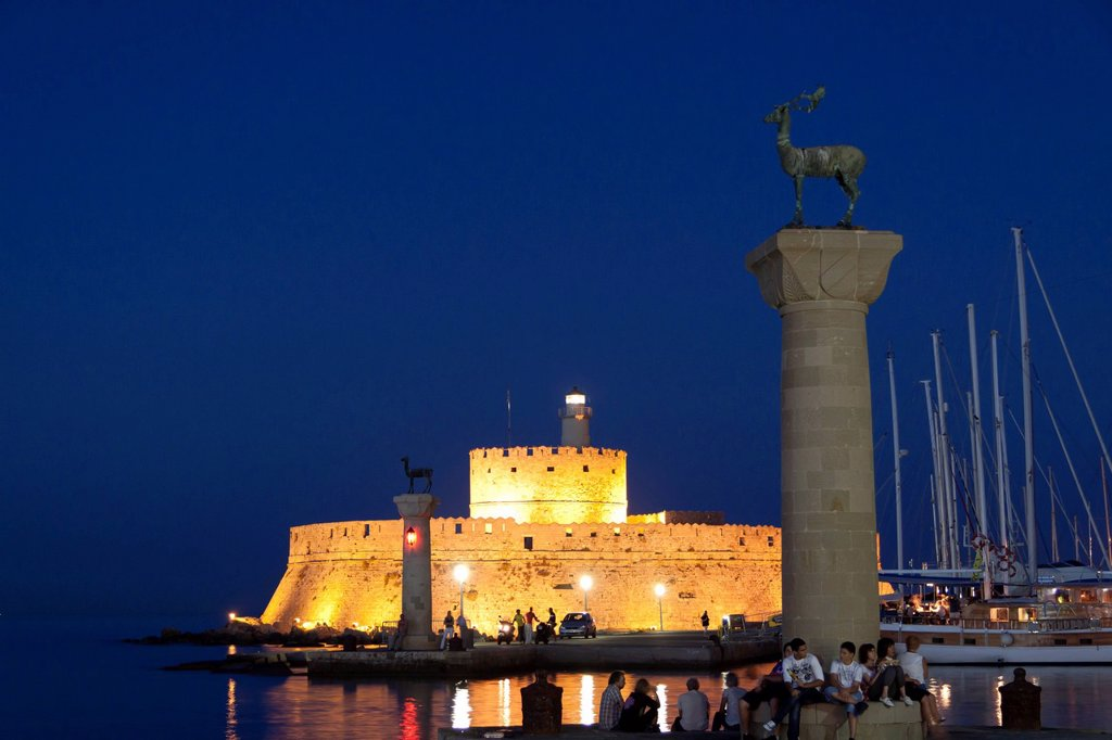 Stock Photo: 1848-692092 Elafos and Elafina, sculptures of a stag and a doe on columns, Agios Nikolaos fortified tower, Mandraki harbour, Rhodes, Greece, Europe, PublicGround