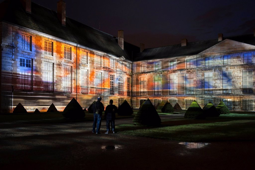 Stock Photo: 1848-692594 Musée des Beaux_Arts, Museum of Fine Arts, illuminated from April until September nightly at dusk, Chartres, Eure_et_Loir, France, Europe, PublicGround