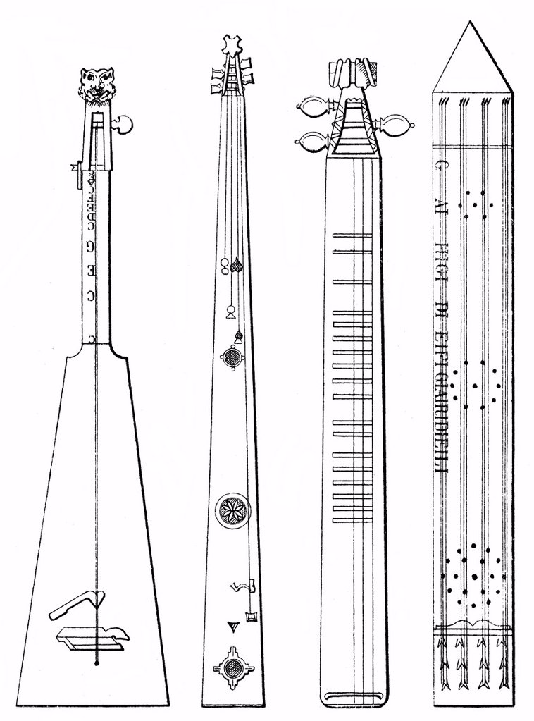 Historical drawing, various old musical instruments, trumscheit, scheitholz and double_scheitholz : Stock Photo