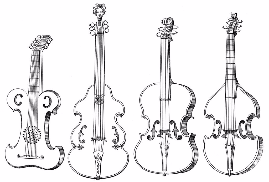 Stock Photo: 1848-692860 Historical drawing, various stringed instruments, old forms of the violins, case_violin, viola da gamba, viola, 16th Century