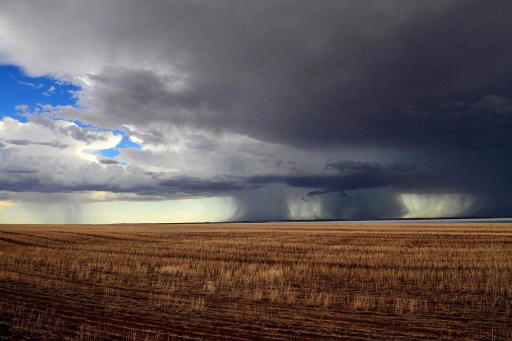 Stock Photo: 1848-693003 Storm over farmland and Yarra Yarra Lake, Carnamah, Western Australia