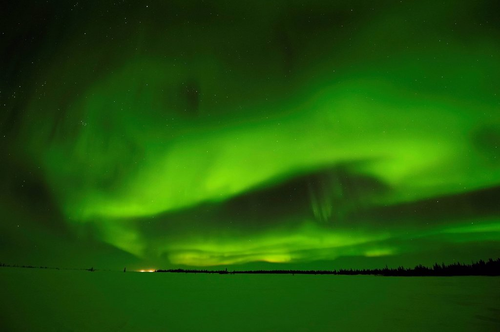 Stock Photo: 1848-693065 Northern Lights, aurora borealis above the Arctic, Hudson Bay, Manitoba, Canada