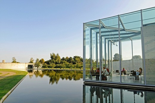 Stock Photo: 1848-69329 Glass, construction, modern architecture, pond, former missile base, art museum, Langen Foundation, architect Tadao Ando, Hombroich, Kreis Neuss district, North Rhine_Westphalia, Germany, Europe
