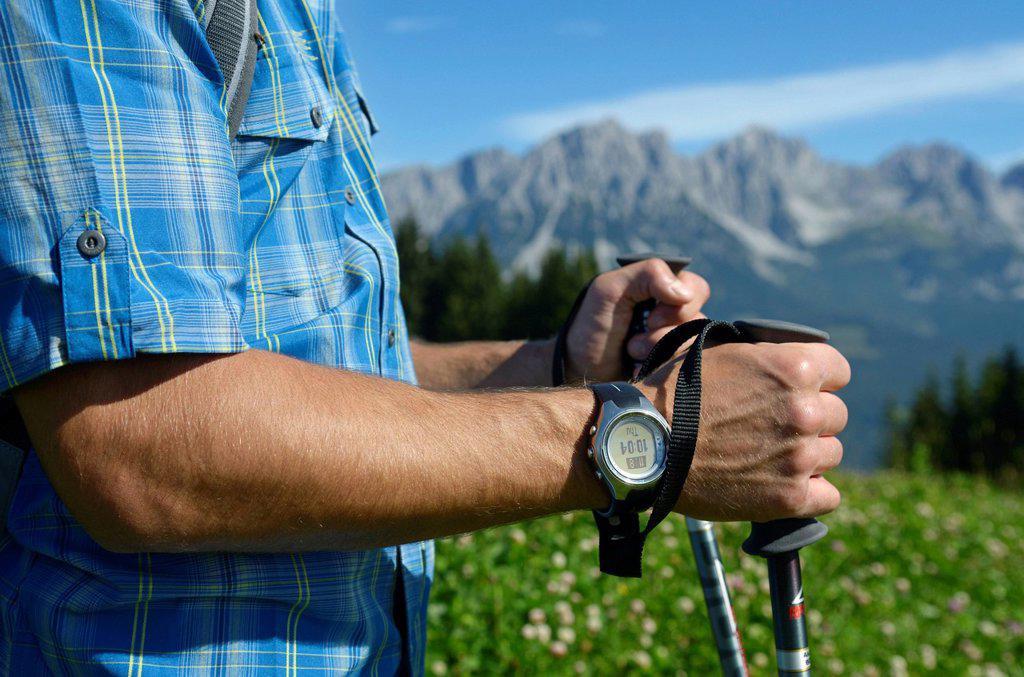 Stock Photo: 1848-693320 Hiker on Hausberg Mountain, Hartkaiser, view towards the Wilder Kaiser Mountains, Tyrol, Austria, Europe
