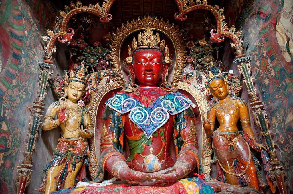 Stock Photo: 1848-693589 Tibetan Buddhism, Newari_style sculptures, colourfully painted statues made of wood and clay, red Buddha statue, Palcho Monastery, also known as Pelkor Chode Monastery, Gyantse, Himalaya Range, Tibet Autonomous Region, People´s Republic of China, Asia