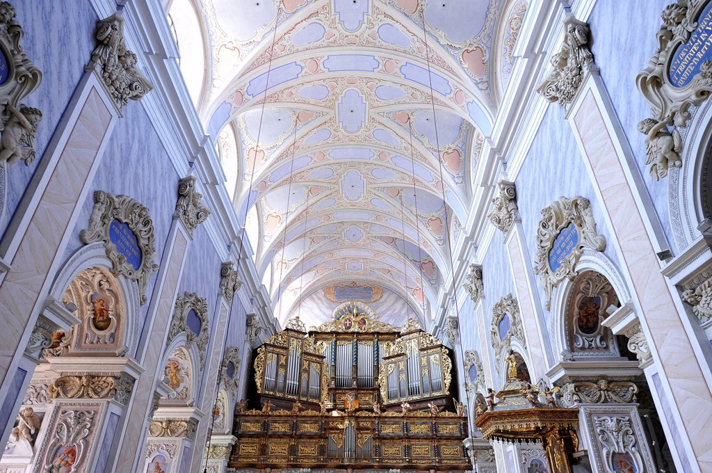Stock Photo: 1848-693605 Nave with organ, Goettweig Abbey, Goettweiger Berg, UNESCO World Heritage Site Wachau, Lower Austria, Austria, Europe