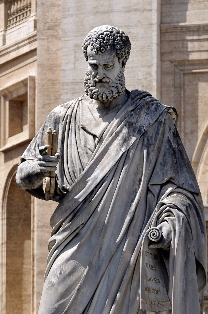 Stock Photo: 1848-693805 Statue of Saint Peter holding two keys, St. Peter´s Square, Vatican City, Rome, Latium region, Italy, Europe