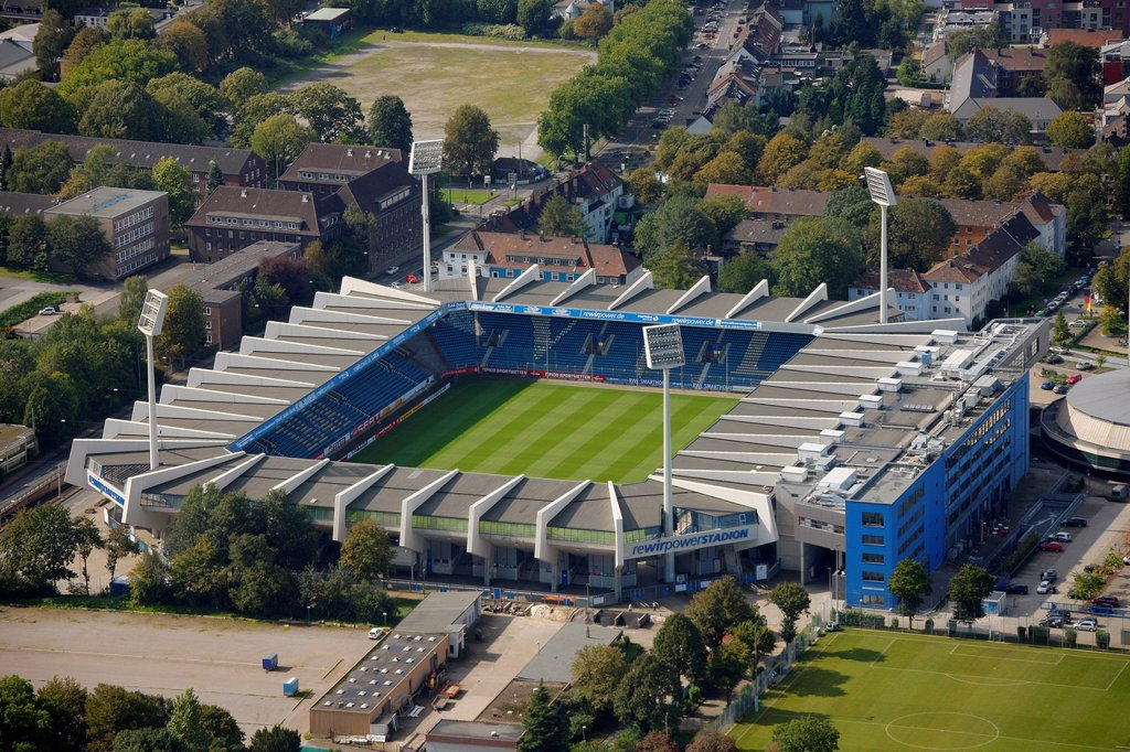 Aerial view, Rewirpowerstadion, Ruhrstadion, stadium of VfL Bochum, Bochum, Ruhr Area, North Rhine_Westphalia, Germany, Europe : Stock Photo
