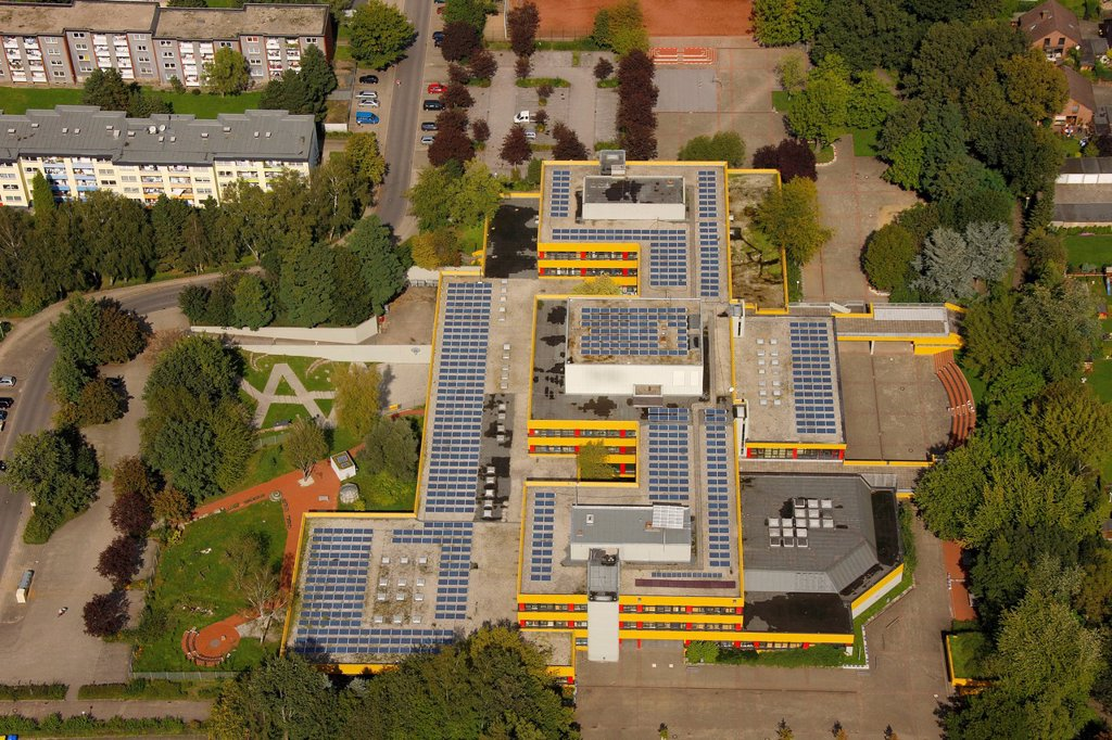 Stock Photo: 1848-693943 Aerial view, solar roofs, Ingeborg_Drewitz_Gesamtschule school, Gladbeck, Ruhr area, North Rhine_Westphalia, Germany, Europe