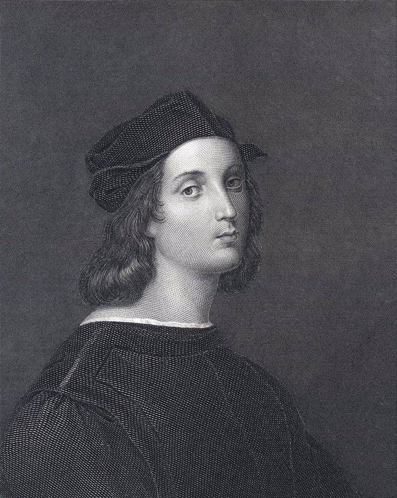 Stock Photo: 1848-694016 Historic steel engraving from the 19th century, portrait of the Italian painter and High Renaissance architect Raphael, Raffael da Urbino, Raffaello Santi, 15th and 16th century