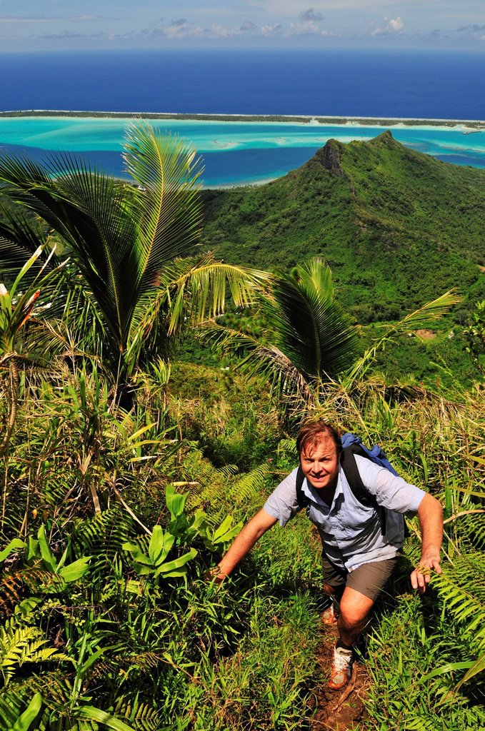 Hiking on Mount Pahia, Bora Bora, Leeward Islands, Society Islands, French Polynesia, Pacific Ocean : Stock Photo