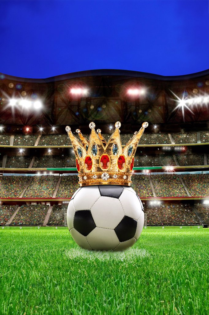 Stock Photo: 1848-694053 Football with a crown in a football stadium with spectator stands, illustration