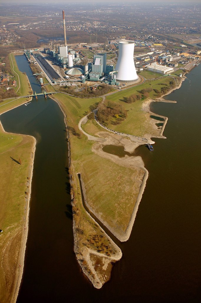 Stock Photo: 1848-694243 Aerial view, Kraftwerk Walsum coal power plant, Evonik STEAG, Rhine river, Ruhrgebiet region, North Rhine_Westphalia, Germany, Europe
