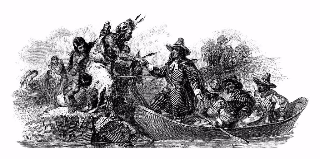 Stock Photo: 1848-694414 Steel engraving of a friendly encounter between whites and Indians, historical share, Water Supply Loan, City of Providence, State of Rhode Island and Providence Plantations, detail, Rhode Island, USA, 1936
