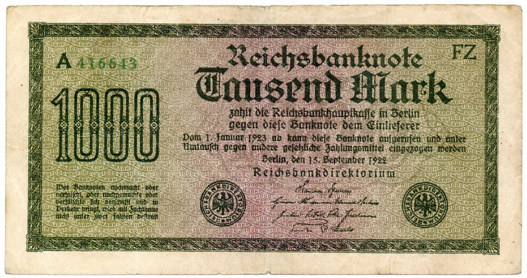 Stock Photo: 1848-694415 Historical note, Reichsbanknote, 1000 Mark, 1922, Germany, Europe