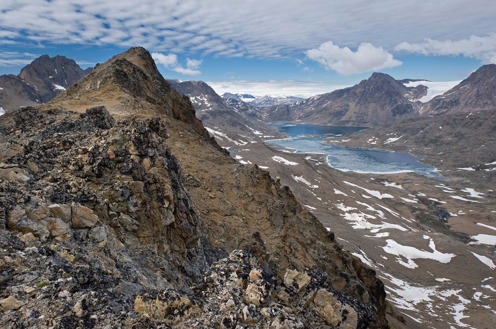 View towards the interior icefields from local mountain of Tasiilaq or Ammassalik, East Greenland, Greenland : Stock Photo