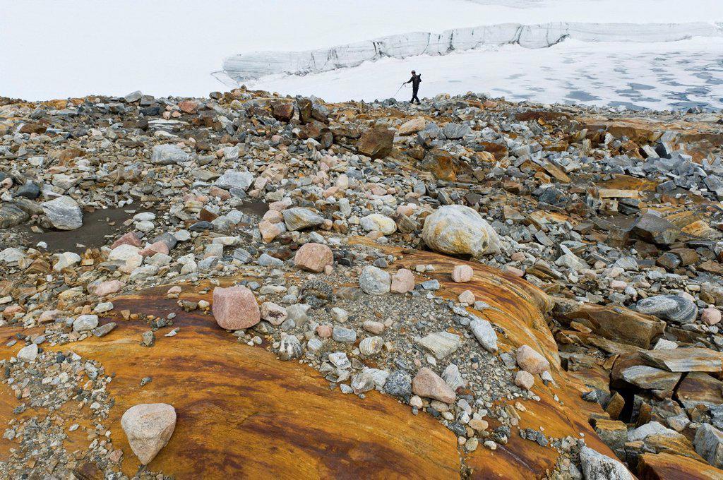 Hikers on Mittivakkat Glacier, Ammassalik peninsula, East Greenland, Greenland : Stock Photo