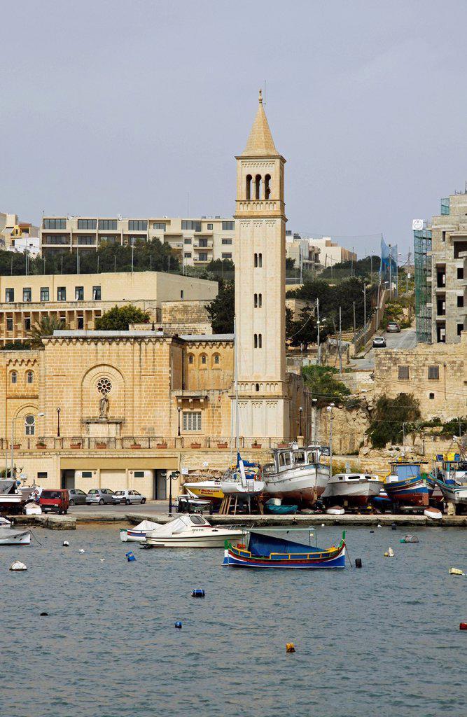 St. Anne´s parish church, Marsaskala, Malta, Europe : Stock Photo