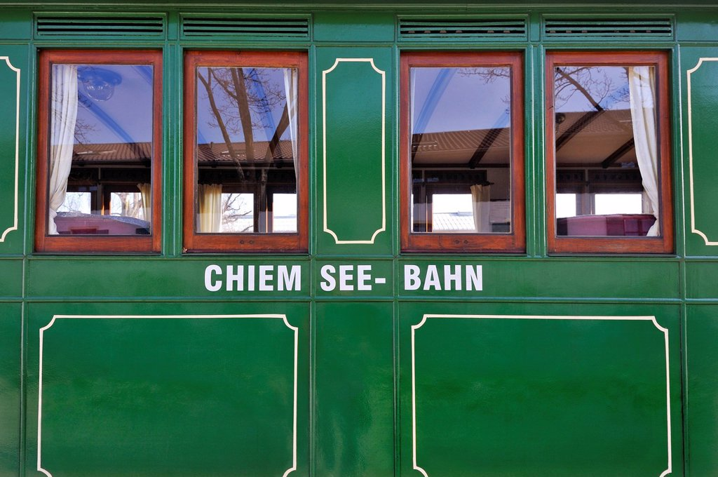 Stock Photo: 1848-694888 Railway car of the Chiemsee_Bahn train, Bavaria, Germany, Europe