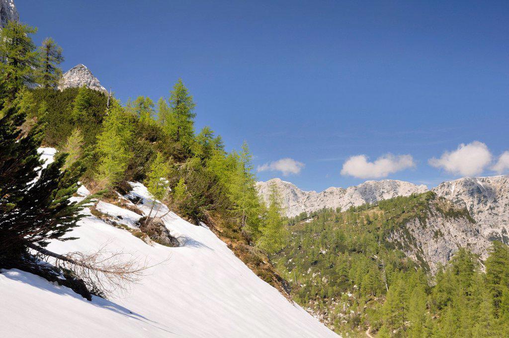 Stock Photo: 1848-695058 Mountain landscape near Vrsic Pass, Triglav National Park, Slovenia, Europe