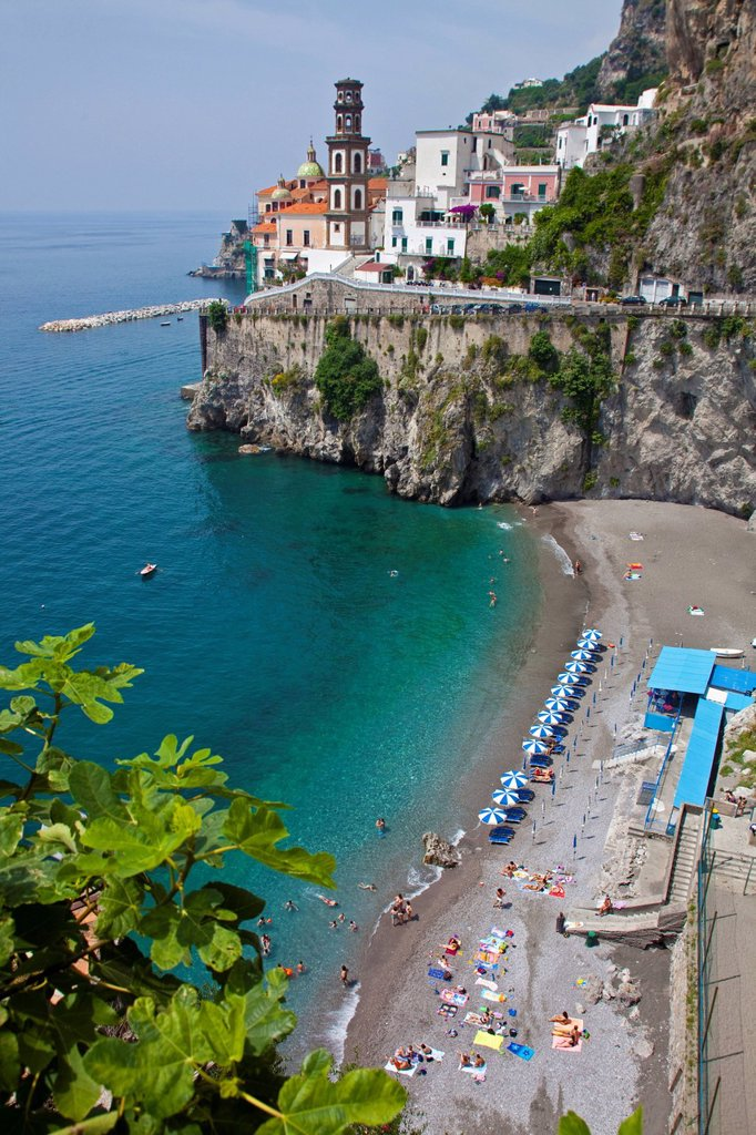 Stock Photo: 1848-695166 Village of Atrani with a small beach, Church of St. Mary Magdalene, Amalfi Coast, Unesco World Heritage site, province of Salerno, Gulf of Salerno, Campania region, Italy, Europe