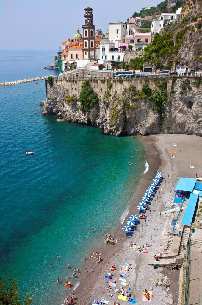 Village of Atrani with a small beach, Church of St. Mary Magdalene, Amalfi Coast, Unesco World Heritage site, province of Salerno, Gulf of Salerno, Campania region, Italy, Europe : Stock Photo