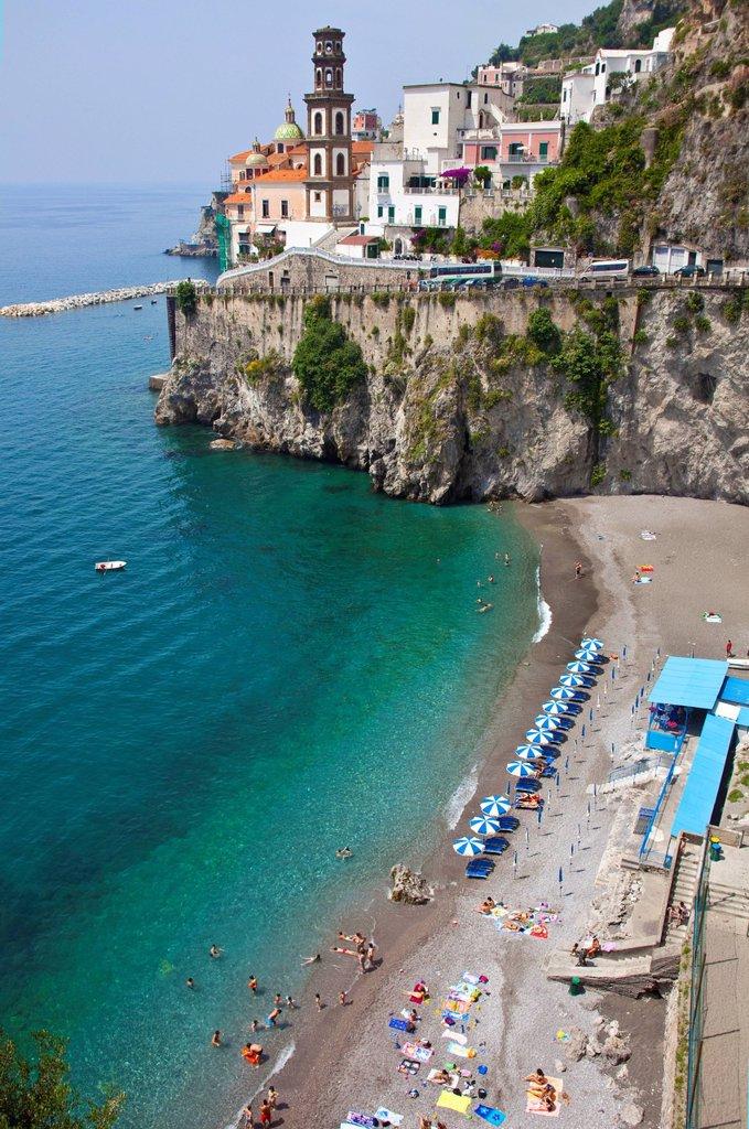 Stock Photo: 1848-695167 Village of Atrani with a small beach, Church of St. Mary Magdalene, Amalfi Coast, Unesco World Heritage site, province of Salerno, Gulf of Salerno, Campania region, Italy, Europe